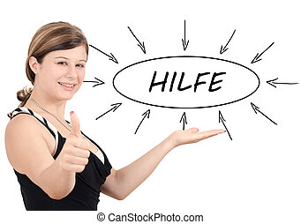 Hilfe - german word for help - young businesswoman introduce...