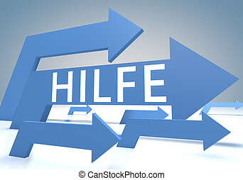 Hilfe - german word for help 3d render concept with blue...