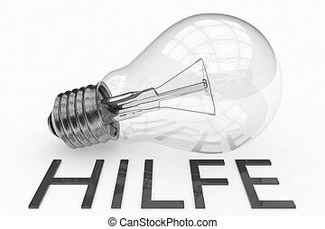 Hilfe - german word for help - lightbulb on white background...