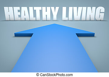 Healthy Living - 3d render concept of blue arrow pointing to...