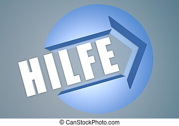 Hilfe - german word for help - text 3d render illustration...