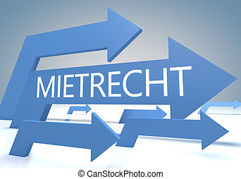 Mietrecht - german word for tenancy law 3d render concept...
