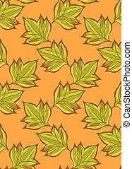 Green pointy leaves on green.Hand drawn with ink and colored...