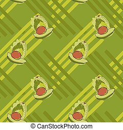 Green avocado with brown kernel on stripesHand drawn with...