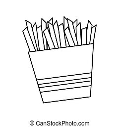 Fast and Street food concept. Eating outside. french fries  icon