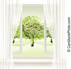 Summer background with an open window and green trees....