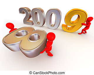 Stock Illustration of New Year 2009 3D - 3D Illustration for the ...