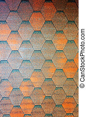 Roof shingle - Detail of roof shingle on exhibition stand at...