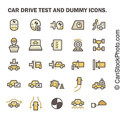 car test icon - Car test drive and dummy vector icon sets