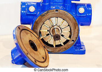 Gearbox on large electric motor at industrial equipment...