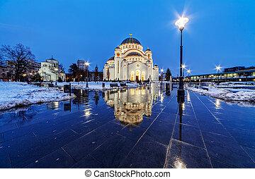 Saint Sava Temple - Saint Sava temple in winter, Belgrade...
