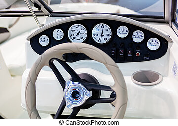 speedboat detail - close up of small white speedboat at...