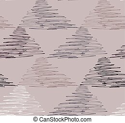 Inked strokes in scribbled triangles on brown