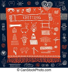 Set of knitting hats and snood, scarf and mittens Sketch of...