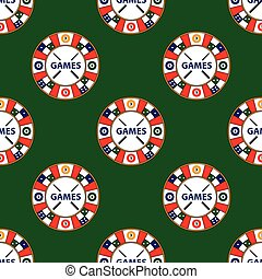 Seamless pattern of vector circle logo super game on green...