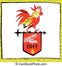 2017 Chinese New Year of the red Rooster. Vector...
