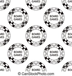 Seamless pattern of vector circle logo super game on white...