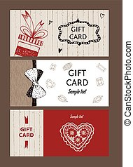 Set of gift cards, hand-drawn Templates gift certificate to...