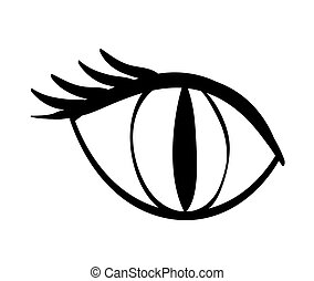 Cat concept female animal eye icon vector graphic - Cat...