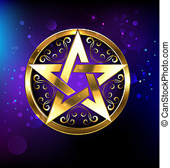 magic gold star - Magic pentagram glowing in gold on the...