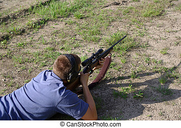Firning the 30-06 on the range vie - Firing a 30-06 rifle...