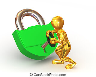 Two man with lock. 3d