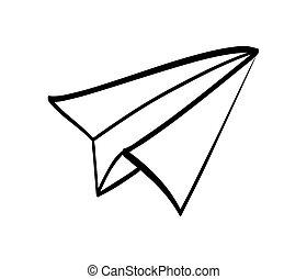 Paper plane design. silhouette icon. vector graphic
