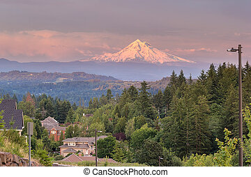 Mount Hood Evening Alpenglow at Happy Valley - Mount Hood...