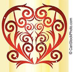 Love swirl vintage heart