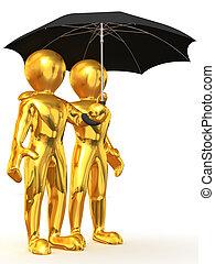 Man with umbrella. 3d