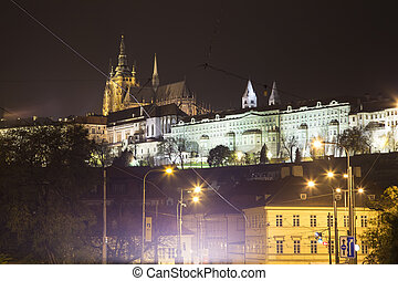 Night view of Prague, Czech Republic: Hradcany, castle and...