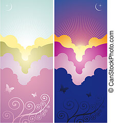 Set of sunset and sunrise banners