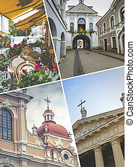 Collage of Vilnius (Lithuania) images - travel background (my photos)
