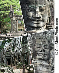 Collage of Angkor Wat ( Cambodia ) images - travel background