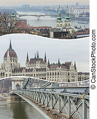 Collage of Budapest (Hungary) images - travel background