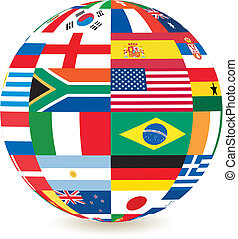 national flags in square shape on a globe