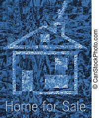 Home for sale on black and blue textured background
