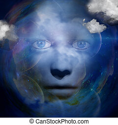 human face with space background