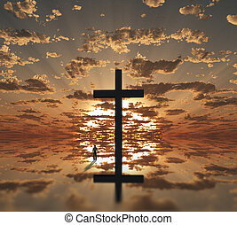 man near giant cross with sunrise background