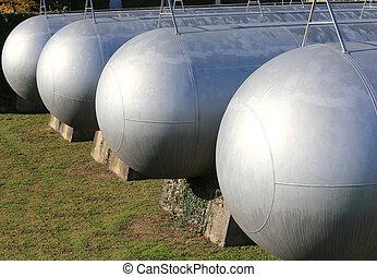 inflamable, Muchos, almacenamiento, gas, Naves, presión,...