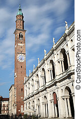 Vicenza, Italy. big square of the city with the famous...