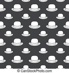seamless pattern bowler hat