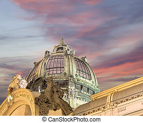 View on Municipal House 1912 in art nouveau style -- is a...