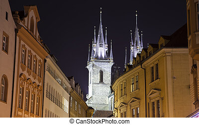 Night time illuminations of the fairy tale Church of our...