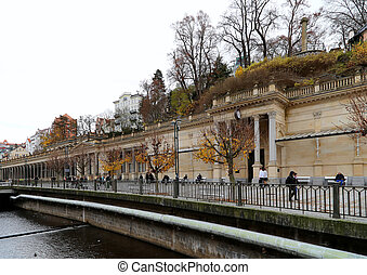 Karlovy Vary (Carlsbad) -- famous spa city in western...