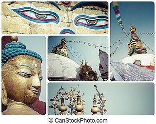 Collage of Kathmandu Nepal images - travel background my...