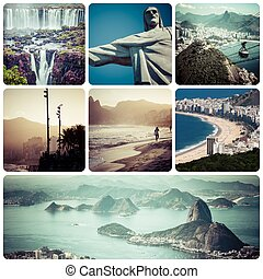 Collage of Rio de Janeiro Brazil images - travel background...