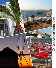 Collage of Tropical Greece islands images - travel...