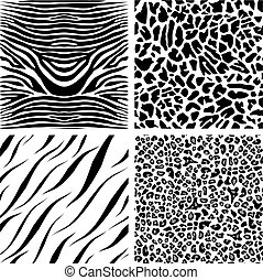Four seamless patterns - Seamless handmade patterns of...