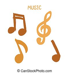 Vector Set of Hand-drawn gold music notes on white background for design, doodle illustration, music text
